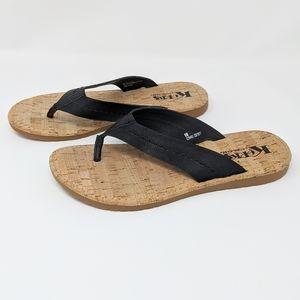 Korks by Kork-Ease Flip Flop Sandals Black Size 8M